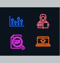 Woman read upper arrows and check article icons vector