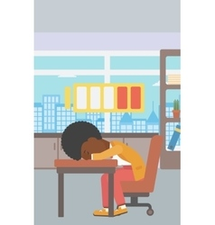 Woman sleeping at workplace vector