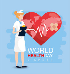 world health day with woman norse and check list vector image