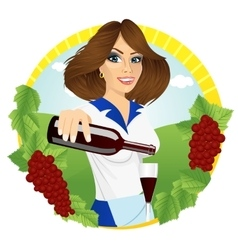 Young smiling waitress pours red wine vector