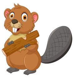 Cute beaver cartoon eating wood vector