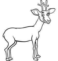 deer cartoon for coloring vector image vector image