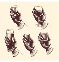 Hands holding glasses with drinks beer tequila vector