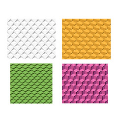 set of 3d geometric seamless pattern vector image vector image