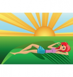 sun and girl vector image vector image
