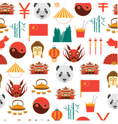 cartoon chinese culture and tourism background vector image vector image