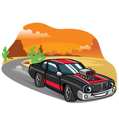 cartoon muscle car drive fast on the road vector image vector image
