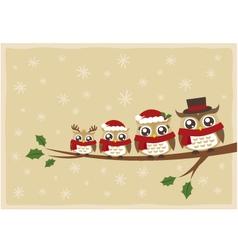 owl family christmas greeting vector image vector image