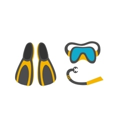 diving mask snorkel flippers vector image