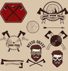 lumberjack emblems set vector image