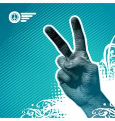 peace hand vector image vector image