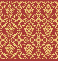 seamless damask pattern gold and red texture vector image