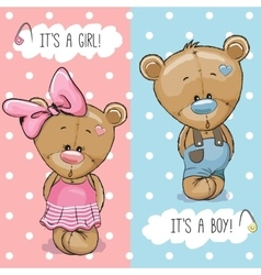 Teddy Bears boy and girl vector image vector image