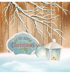 Vintage christmas snow branch lantern background vector