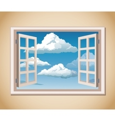 room window blue sky clouds vector image