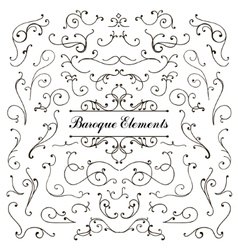 Set of calligraphic floral design elements and vector image