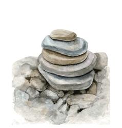 watercolor sea stones vector image