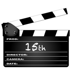 15th year clapperboard vector image
