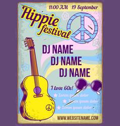 A guitar and hippie vector