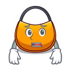 Afraid hobo bag outline on image cartoon vector