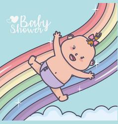 Bashower happy little girl falling on rainbow vector
