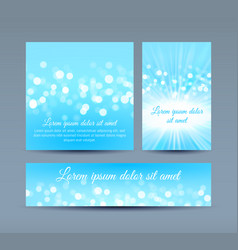 bokeh lights on blue invitation cards vector image