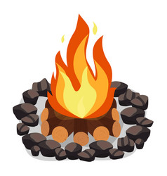 Bonfire burning woodpile and round of stones vector