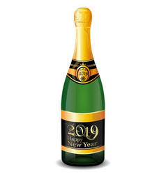 bottle of champagne with text new year 2019 vector image