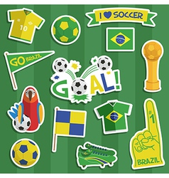 Brazil soccer stickers vector
