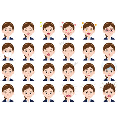 businesswoman various expressions set vector image