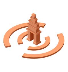 Cambodia temple icon isometric style vector