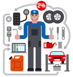 car service repair icons vector image