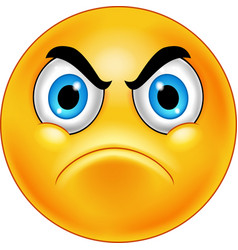 Cartoon annoyed smiley emoticon vector