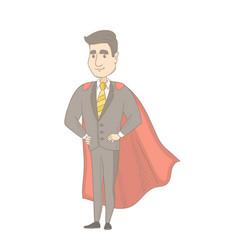 Caucasian businessman dressed as a superhero vector