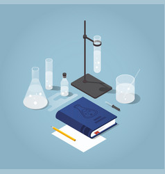 Chemistry homework isometric vector