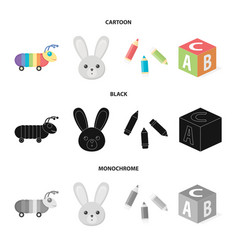 Children toy cartoonblackmonochrome icons in set vector