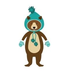 christmas bear cartoon vector image