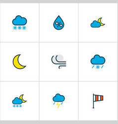 Climate icons colored line set with lunar freeze vector