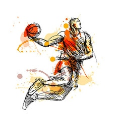 Colored hand sketch basketball player vector
