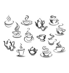 Cup of coffee and tea teapot sugar bowl icon set vector