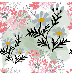 cute sweet pink and blue wild flower seamless vector image