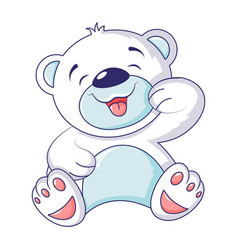 cute white bear icon cartoon style vector image