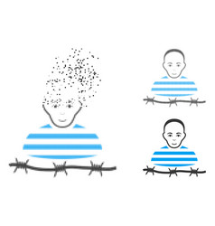 damaged dotted halftone camp prisoner icon with vector image