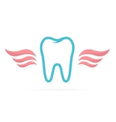 Dentist logo tooth with wings vector