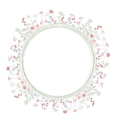 Detailed contour wreath with berries and herbs vector