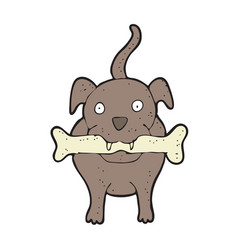 digitally drawn dog bite bone design hand vector image