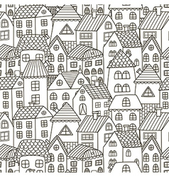 Doodle houses seamless pattern vector image