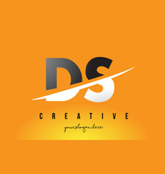 Ds d s letter modern logo design with yellow vector