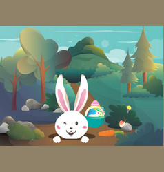 easter bunny in the forest vector image