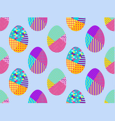 easter eggs in the memphis style seamless vector image